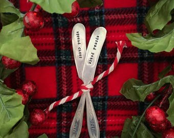 "Vintage ""christmas spreaders 2017"" silver plated hand stamped spreaders"