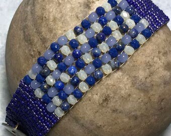 Dark Blue Bracelet Multi Blue Bracelet Bead Woven Bracelet Blue Beaded Bracelet Beadwork Bracelet Peyote Stitch Cuff Size 6 1/2 Bracelet