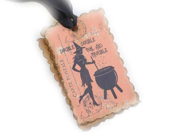 Witch Gift Tags, Halloween Hang Tags, Bridal Shower Favor Tags, Orange, Black, Treat Bag Tags, Witchcraft, Set of 10