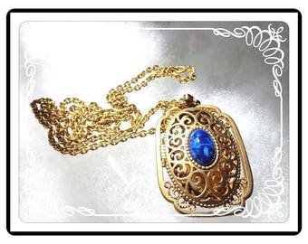 Vintage Avon Locket - Goldtone with a Victorian Flair - Picture Locket with Blue Oval  - Opera Length Chain - Neck-2849a-092415