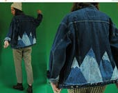 THE SUPER SALE 1980s Dark Denim Jacket with Upcycled Acid Wash Denim Scrap Mountain Peaks