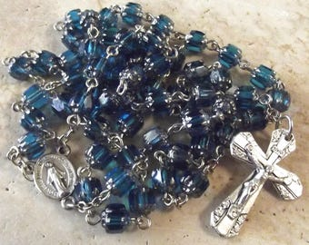 Turquoise Cathedral Glass Bead Rosary