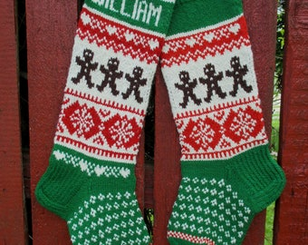 New 2017! Christmas stocking Personalized Hand knit Wool Red Bright Green White with Gingerbread Men Snowflakes Christmas gift Decoration