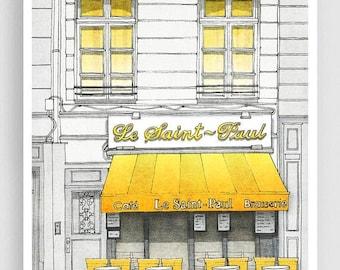 30% OFF SALE: Le Saint Paul - Paris illustration Art Illustration Print Poster Paris Art Prints Paris decor Home decor Architectural drawing