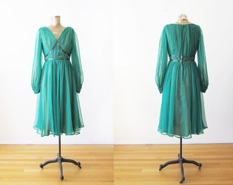 1960s Party Dress - Emerald Green 60s Cocktail Dress - Sequin Beaded 60s Dress - Chiffon 60s Dress - Jack Bryan - Long Sleeve 60s Dress S