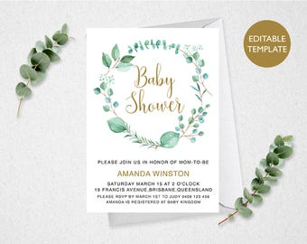 Baby Shower Invitation // Editable  // INSTANT DOWNLOAD // 5x7 //  Printable