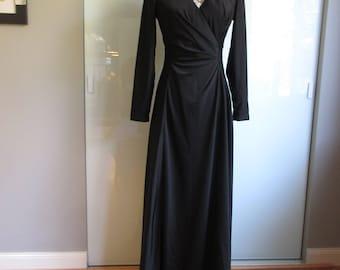 The Eva Gabor Look By Estevez Floor Length Black Gown  Early 1970s Glamour
