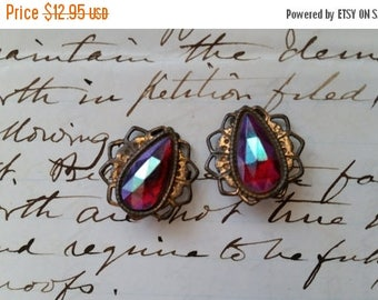 ON SALE 25% OFF Unique Vintage Iridescent Clip On Earrings Bobs
