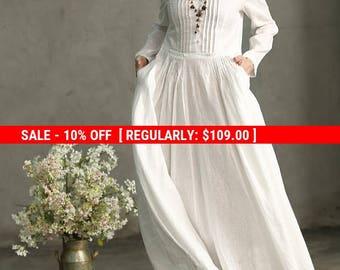 SALE! White Linen Dress, White Maxi Dress, White Prom Dress, White Wedding Dress, Long White Dress, Pleated Waist And Pintuck Dress, White
