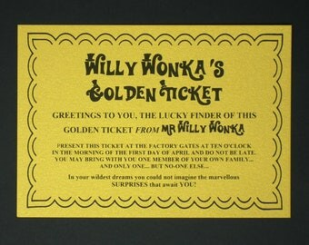Golden ticket etsy willy wonka gift golden ticket perfect party pack or to hide in a chocolate bar pronofoot35fo Choice Image