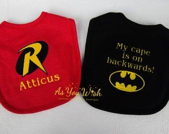 Batman and Robin My cape is on backwards bib set for all the little superheros