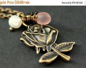 SUMMER SALE Pink Rose Necklace. Bronze Rose Charm Necklace with Frosted Pink Teardrop and Pearl. Handmade Jewelry.