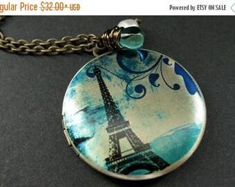 VALENTINE SALE Locket Necklace. Eiffel Tower Locket with Fresh Water Pearl and Aqua Teal Teardrop. Eiffel Tower Necklace. Handmade Jewelry.