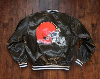 Cleveland Browns Satin jacket swingster NFL football Large