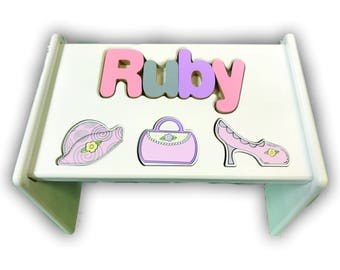 Children's Personalized Step Stool with puzzle piece design