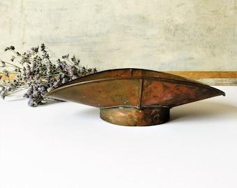 Vintage brass scale pan, grocery scale bin, farmhouse home decor, rustic kitchen decor