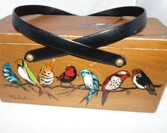 Vintage 60s Early ENID COLLINS ORIGINAL For the Birds Wood Wooden Box Bag Collins Of Texas