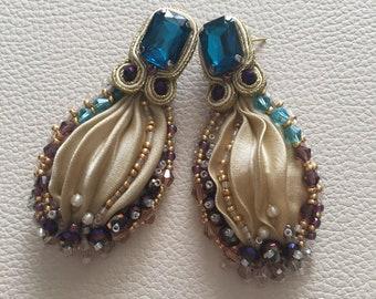 Beige Soutache and Shibori Silk Earrings