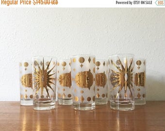 ON SALE Vintage Fred Press Atomic Eclipse Highball Glass Set