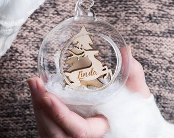 Personalised Reindeer  Bauble, Snow Globe Bubble,  Wooden Reindeer in a  Glass Bauble, stocking filler