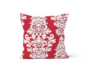 Pink Damask Pillow Cover - Berlin Deep Pink - Lumbar 12 14 16 18 20 22 24 26 Euro - Hidden Zipper Closure