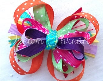 Rainbow Boutique loop Double Stacked Hairbows, Baby Boutique Bows, HairBows, Flower Hairbows, Rainbow Birthday, girls (made to order)