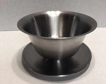 Vintage Italian Stainless Steel Bowl with Attached Saucer by Purinox