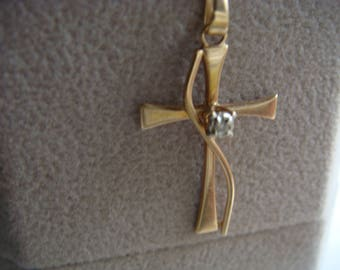 Vintage 10k Cross with Diamond