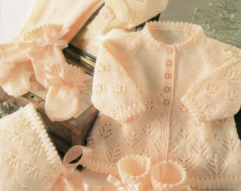 PDF, Instant Download, Knitting Pattern Babies Matinee Cardigan,Hats, Mittens and Bootees 4 ply wool, 16 - 22 inch chest