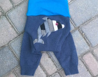 Wool Soaker Cover, Diaper Cover, Longies, Wool Pants - Blue Longies with a Dolphin Applique - Size Medium