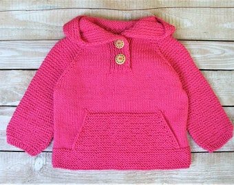 Baby Girl Clothing - Hand Knitted Girls Pink Hoodie - Toddler Girls Size 2T Hooded Pullover with Front Pocket - Bright Pink Girls Sweater