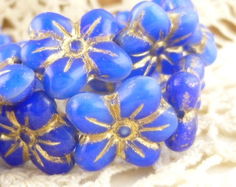 Puffed Daisy Flower Beads, Azure Blue with Gold Inlay Czech Glass Floral Beads (8) - P