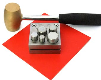 """Large 5 Punch Disc Cutter Kit With Hammer And Urethane Pad 1/2"""" To 1"""""""