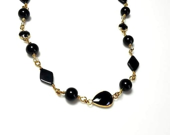 Diamond-Shaped Black Onyx Gemstone Black Pearl Necklace with Black Teardrop Bezels Long Beaded Chain Necklace Beaded Stone Jewelry