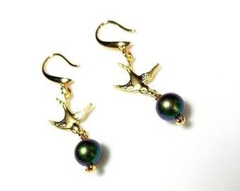 Scarabaeus Green Swarovski Crystal Pearl Earrings with Gold Pigeon Bird Connector Hypoallergenic or Nickel Free Earrings Long Dangle Earring