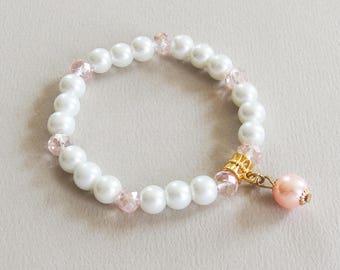 Bracelet Vintage - Jour Blanc - Perles nacrées, perles en verre facetté, métal doré - Bijou créateur en pièce unique
