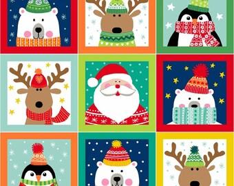 Novelty Christmas Squares 100% Quilting Fabric 55 Individual Panels Makower