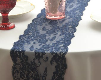 Navy Lace Table Runner 7.75 wide 3FT -16FT/ Cut lace not hemmed/ Wedding decor/Wedding reception/ Bridal shower/ Free sample swatch