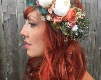 Rustic Flower Crown <<The Helena>> Bohemian Dried and Silk Flower Crown // Custom Made Crown
