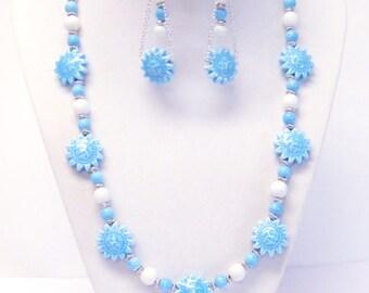 Blue Ceramic Sunflower Bead Necklace & Earrings Set