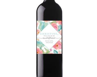 Printable Flowers Custom Wine Labels, Floral Wedding Digital File, Personalized Wine Label, Be My Bridesmaid, Maid of Honor - Tallulah