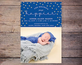 Christmas Birth Announcements, Holiday Baby Announcement, Holiday Photo Card Birth Announcement, Christmas Birth Announcement –Asher