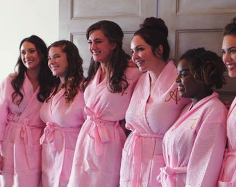 Set of 5 Bridesmaid Robes -Monogrammed Robes -Waffle Weave Robes -  Thigh length Robe - Bridal Robes - Bridesmaid Gifts - Personalized Robes