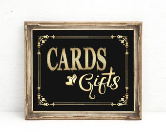 Cards and Gifts Wedding sign | Great Gatsby decorations, Black Gold Party Decor, Birthday sign, Anniversary, Retirement, Cards Gifts Sign