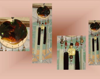 Chocolate Gold Angel Glass Wind Chime Ceramic Archangel Michael Pottery Garden Decor Stained Glass Window Suncatcher Mobile