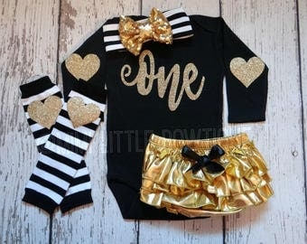 First Birthday outfit girl-   Black bodysuit with gold lettering-1st Birthday Outfit- Party outfit one birthday - black and gold