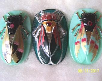 Czech Glass Buttons (3 PCS) Hand Painted SCARAB Cicada 40mm IVA 007