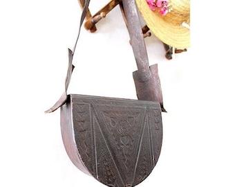 Vtg Tooled leather bag box ethnic