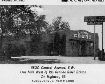 Vintage El Compo Motor Court Albuquerque New Mexico on Highway 66 (Route 66) Unusual Motel Motor Court Advertising w/Mileage Chart, Picture