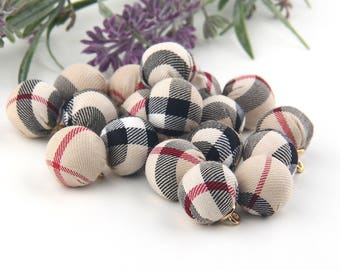 Fabric Bead Charms, Fabric Beads, Round Textile Charms, 2 pieces